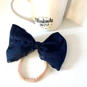 Other - Blue Lace Bow Nylon Baby Headband